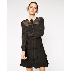 NEW The Kooples Bicolour Lace Shirt Dress Small